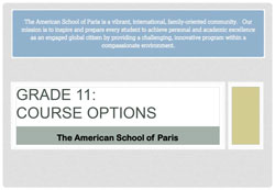 American School of Pairs - Course Options